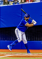 25 March 2019: Toronto Blue Jays first baseman Kendrys Morales at bat during an exhibition game against the Milwaukee Brewers at Olympic Stadium in Montreal, Quebec, Canada. The Brewers defeated the Blue Jays 10-5 in the first of two MLB pre-season games in the former home of the Montreal Expos. Mandatory Credit: Ed Wolfstein Photo *** RAW (NEF) Image File Available ***