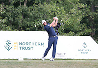 23rd August 2020, Boston, MA, USA;  Dustin Johnson tees off  during the final round of The Northern Trust  at TPC Boston in Norton, Massachusetts.