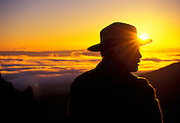 Haleakala National Park Ranger Mike Ing at sunrise at the main visitor center (a 9,745-ft. elevation) on Haleakala.