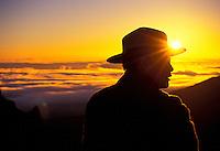 Haleakala National Park Ranger Mike Ing at sunrise at the main visitor center (a 9,745-ft. elevation) on Haleakala.