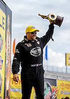 Jun. 2, 2013; Englishtown, NJ, USA: NHRA top fuel dragster driver Shawn Langdon celebrates after winning the Summer Nationals at Raceway Park. Mandatory Credit: Mark J. Rebilas-
