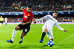 Marcus Rashford of Manchester United (L) fights for the ball with Cristiano Piccini of Valencia CF (R) during the UEFA Champions League 2018-19 match between Valencia CF and Manchester United at Estadio de Mestalla on December 12 2018 in Valencia, Spain. Photo by Maria Jose Segovia Carmona / Power Sport Images