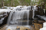 A small cascade along the Kancamagus Highway in the White Mountain National Forest of  New Hampshire during the spring months.