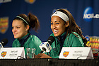 Apr 6, 2013; Skylar Diggins and Kayla McBride answer questions during a press conference after practice at the New Orleans Arena. Photo by Barbara Johnston/ University of Notre Dame