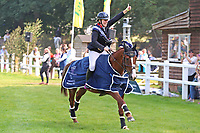5th September 2021; Bicton Park, East Budleigh Salterton, Budleigh Salterton, United Kingdom: Bicton CCI 5* Equestrian Event; Gemma Tattersall riding Chilli Knight celebrates her win on her lap of honour