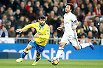 Real Madrid's Marcelo Vieira (r) and UD Las Palmas' Tana Dominguez during La Liga match. March 1,2017. (ALTERPHOTOS/Acero)
