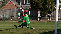 Adam Thomas of Flackwell Heath has a shot saved by Goalkeeper Mark Pritchett of Tuffley Rovers during the UHLSport Hellenic Premier League match between Flackwell Heath v Tuffley Rovers at Wilks Park, Flackwell Heath, England on 20 April 2019. Photo by Andy Rowland.