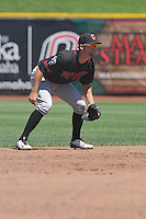 Nashville Sounds Chad Pinder (11) plays defense at shortstop during the Pacific Coast League game against the Omaha Storm Chasers at Werner Park on June 5, 2016 in Omaha, Nebraska.  Omaha won 6-4.  (Dennis Hubbard/Four Seam Images)