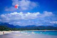 Kitesurfer and people enjoying Kailua beach park