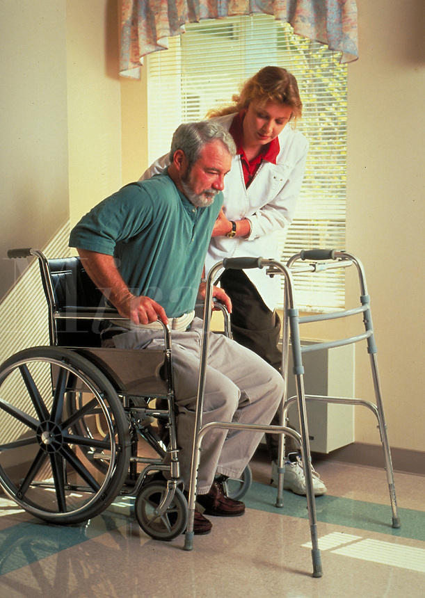 PHYSICAL REHABILITATION MEDICAL CARE DISABLED VETERAN DISABILITY OCCUPATIONS  WOMAN  MALE  WHEELCHAIR. SOUTHERN REHAB . FLORIDA, TIMBER RIDGE NURSING HOME.