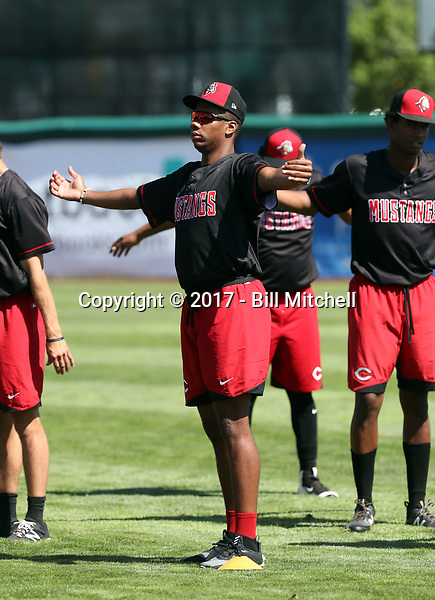 Hunter Greene, the second overall draft pick in 2017 by the Cincinnati Reds, works out and observes games with the Billings Mustangs of the Pioneer League in a game against the Orem Owlz on July 24, 2017 in Orem, Utah. Greene is expected to make his professional debut on the mound for the Mustangs in late August (Bill Mitchell)
