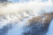 Franconia Notch State Park - Snow making at Cannon Mountain in the White Mountains, New Hampshire.
