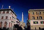 TransAmerica Pyramid from Chinatown and church cross downtown city life, San Francisco, California USA