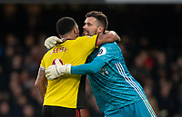 Ben Foster of Watford embraces Troy Deeney of Watford during the Premier League match between Watford and Manchester United at Vicarage Road, Watford, England on 22 December 2019. Photo by Andy Rowland.