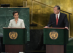 Representational of both panels<br /> Global town hall meeting with the candidates for the post of Secretary-General (organized and hosted by the President of the General Assembly)