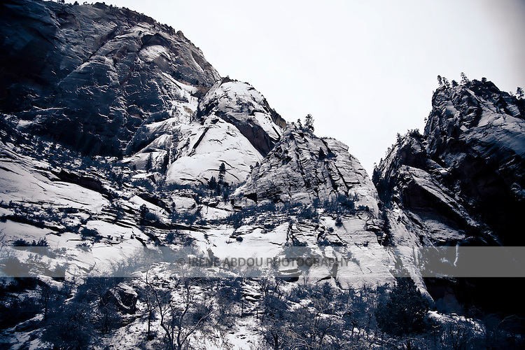 The craggy peaks of Zion National Park in southern Utah are layered in winter snow.
