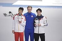 OLYMPIC GAMES: PYEONGCHANG: 19-02-2018, Gangneung Oval, Long Track, Final results 500m Men, Cha Min Kyu (KOR), Havard Lorentzen (NOR), Tingyu Gao (CHN), ©photo Martin de Jong