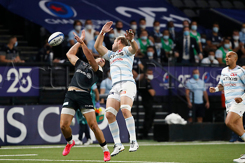 26th September 2020, Paris La Défense Arena, Paris, France; Champions Cup rugby semi-final, Racing 92 versus Saracens; Claassen (Racing 92) gets an elbow in the face of the Saraens player