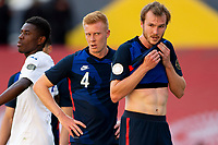 GUADALAJARA, MEXICO - MARCH 28: Justen Glad #4 and Henry Kessler #3 of the United States waiting on a corner kick during a game between Honduras and USMNT U-23 at Estadio Jalisco on March 28, 2021 in Guadalajara, Mexico.