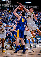 9 February 2019: University of Vermont Catamount Guard Ernie Duncan, a Redshirt Senior from Evansville, IN, guards University at Albany Great Dane Forward Brent Hank, a Redshirt Freshman from Port Lincoln, Australia in second-half action at Patrick Gymnasium in Burlington, Vermont. The Catamounts defeated the Danes 67-49 in their America East matchup. Mandatory Credit: Ed Wolfstein Photo *** RAW (NEF) Image File Available ***