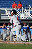 Mahoning Valley Scrappers catcher Shane Rowland (4) at bat during a game against the Batavia Muckdogs on June 21, 2014 at Dwyer Stadium in Batavia, New York.  Batavia defeated Mahoning Valley 10-6.  (Mike Janes/Four Seam Images)