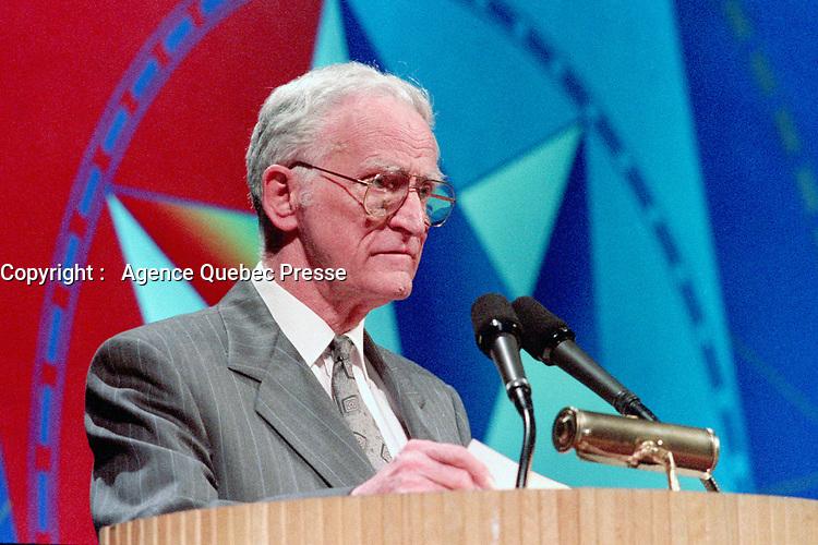 April 1992 File Photo - <br /> <br /> <br /> 'Union des Municipalites du Quebec convention in April - Claude Ryan, Quebec Minister of Municipal Affairs