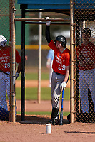 Preston Hart (29) waits to hit in the dugout during the Perfect Game National Underclass East Showcase on January 23, 2021 at Baseball City in St. Petersburg, Florida.  (Mike Janes/Four Seam Images)