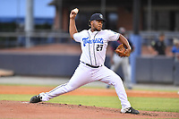 Asheville Tourists pitcher Felipe Tejada (27) delivers a pitch during a game against the Bowling Green Hot Rods on May 28, 2021 at McCormick Field in Asheville, NC. (Tony Farlow/Four Seam Images)