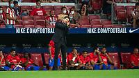 29th August 2021; Estadio Wanda Metropolitano, Madrid, Spain; La Liga Football, Atletico de Madrid versus Villarreal Club de Futbol; Diego Simeone (Atletico de Madrid) gets animated on sidelines
