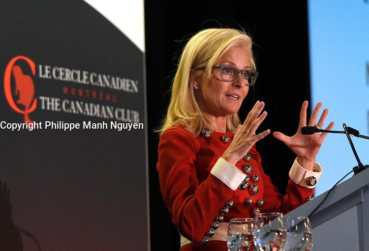 Conference d'Isabelle Hudon - Chef de la direction, Québec - Financière Sun Life Canada devant le Cercle canadien de Montreal,lundi 23 janvier 2017.<br /> <br /> PHOTO : Philippe Manh Nguyen - Agence Quebec Presse
