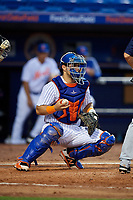 St. Lucie Mets catcher Brandon Brosher (25) during the first game of a doubleheader against the Charlotte Stone Crabs on April 24, 2018 at First Data Field in Port St. Lucie, Florida.  St. Lucie defeated Charlotte 5-3.  (Mike Janes/Four Seam Images)