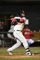 New Britain Rock Cats first baseman Kennys Vargas (35) at bat during a game against the Harrisburg Senators on April 28, 2014 at Metro Bank Park in Harrisburg, Pennsylvania.  Harrisburg defeated New Britain 9-0.  (Mike Janes/Four Seam Images)