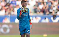CARSON, CA - SEPTEMBER 29: GK Matt Lampson #28 of the Los Angeles Galaxy looking downfield during a game between Vancouver Whitecaps and Los Angeles Galaxy at Dignity Health Sports Park on September 29, 2019 in Carson, California.