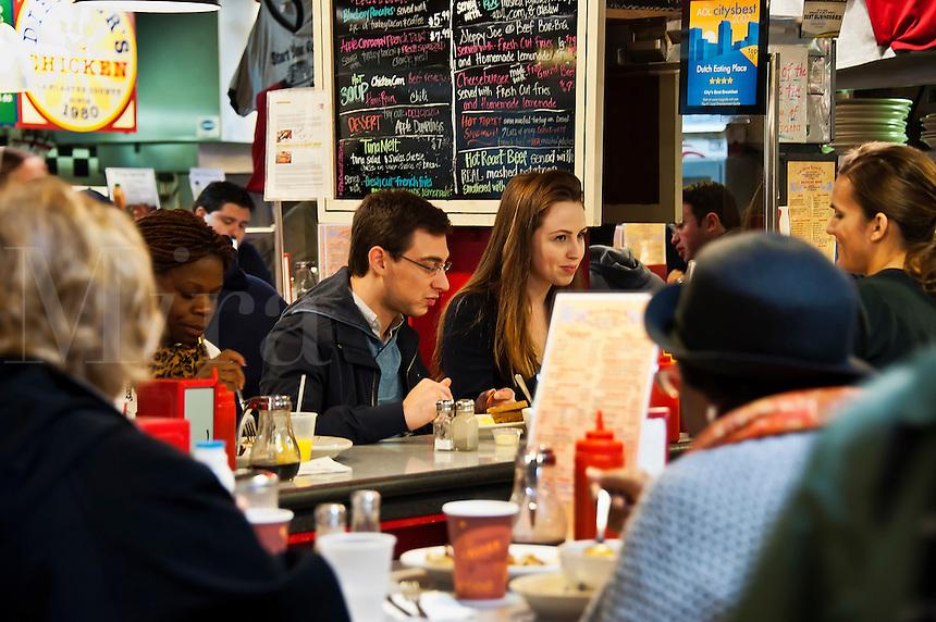 Diner at Reading Terminal Market, Philadelphia, Pennsylvania, USA