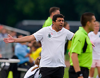 St. Louis Athletica coach Jorge Barcellos yells during a WPS match at Anheuser-Busch Soccer Park, in St. Louis, MO, June 7, 2009. Athletica won the match 1-0.