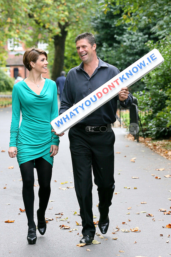 18/10/2010. Niall and Gillian Quinn launch prostate cancer awareness. Gillian and Niall Quinn are pictured in St Stephen's Green Dublin having a kick-around and shout the prostate cancer awareness message to show their support for this important healthcare campaign. What You Don't Knowa Public Awareness Campaignby the Mater Private, which aims toeducate on the symptoms and treatment of prostate cancer and promote early diagnosis of the disease. InIreland, prostate cancer is the second most common cancer in men, after skin cancer, and 1 in 12 Irish men will be diagnosed with prostate cancer during their lifetime and 1 in 34 men will die from the disease. Picture James Horan/Collins Photos