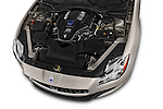 Car Stock 2014 Maserati Quattroporte SQ4 4 Door Sedan Engine high angle detail view