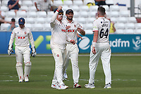 Peter Siddle of Essex celebrates with his team mates after taking the wicket of Lyndon James during Essex CCC vs Nottinghamshire CCC, LV Insurance County Championship Group 1 Cricket at The Cloudfm County Ground on 3rd June 2021