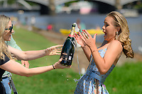 January 2, 2020: SOFIA KENIN (USA) is given a bottle of champagne at her trophy shoot as the Women's Singles champion of the Australian Open 2020 in Melbourne, Australia. Photo Sydney Low