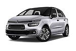 Stock pictures of low aggressive front three quarter view of 2017 Citroen C4-Picasso Shine 5 Door Mini Mpv Low Aggressive