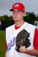 Auburn Doubledays pitcher Alex Meyer #40 poses for a photo before game two of the semi-final round of the NY-Penn League Playoff series against the Vermont Lake Monstes at Falcon Park on September 8, 2011 in Auburn, New York.  Auburn defeated Vermont 3-2.  (Mike Janes/Four Seam Images)
