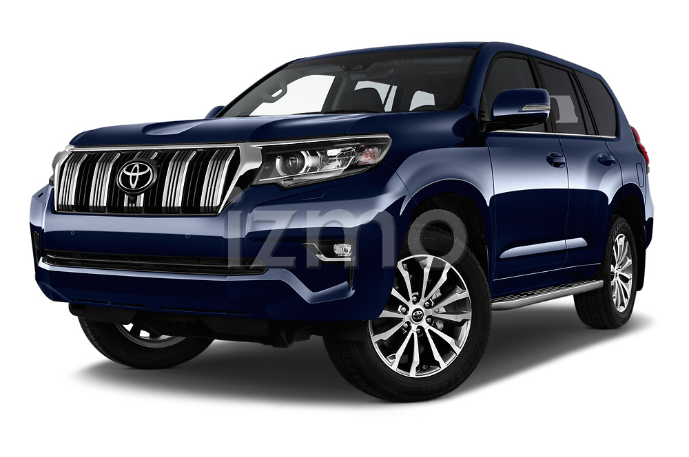 Stock pictures of low aggressive front three quarter view of a 2018 Toyota Landcruiser Premium 5 Door SUV