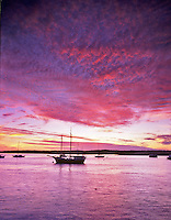 Boats at sunset, Morro Bay, California.