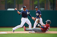 Columbus Clippers shortstop Erik Gonzalez (11) throws to first as Tommy Joseph (22) slides in and second baseman Yhoxian Medina (15) backs up the play during a game against the Lehigh Valley IronPigs on May 12, 2016 at Huntington Park in Columbus, Ohio.  Lehigh Valley defeated Columbus 2-1.  (Mike Janes/Four Seam Images)