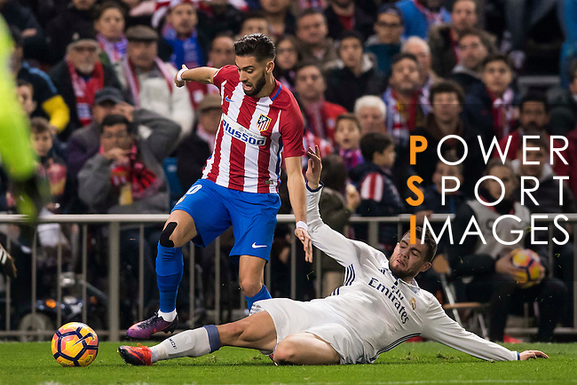 Yannick Ferreira Carrasco of Atletico de Madrid fights for the ball with Mateo Kovacic of Real Madrid during their La Liga match between Atletico de Madrid and Real Madrid at the Vicente Calderón Stadium on 19 November 2016 in Madrid, Spain. Photo by Diego Gonzalez Souto / Power Sport Images