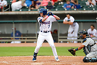 Tennessee Smokies shortstop Andy Weber (7) at bat against the Montgomery Biscuits on May 9, 2021, at Smokies Stadium in Kodak, Tennessee. (Danny Parker/Four Seam Images)