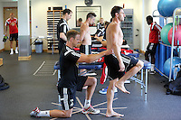 Pictured: Angel Rangel being examined by a squad physiotherapist. Wednesday 02 July 2014<br /> Re: Pre-season testing during the first day of training for Swansea City FC players at the Landore training ground.