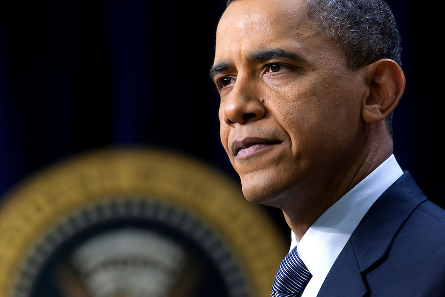 U.S. President Barack Obama speaks to the media during a news conference at the White House in Washington.