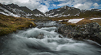 Fast flowing stream in the Talkeetna Mountains of Alaska.