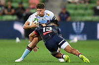 19th March 2021; Melbourne Rectangular Stadium, Melbourne, Victoria, Australia; Australian Super Rugby, Melbourne Rebels versus New South Wales Waratahs; Stacey Ili of the Rebels tackles Mark Nawaqanitawase of the Waratahs